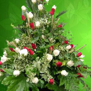 Addobbo funebre cod-05 bianco e rosso