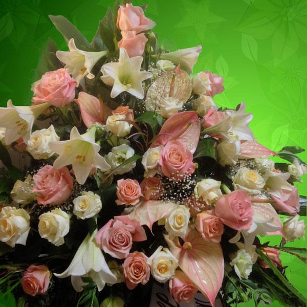 Addobbo funebre cod-06 bianco e rosa
