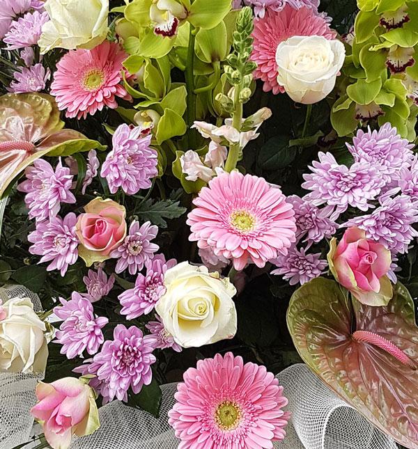 Addobbo funebre cod-07 bianco e rosa